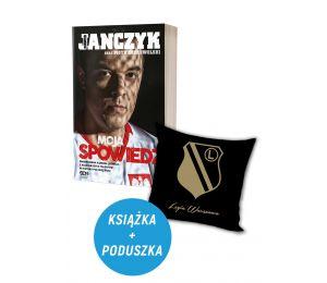 Okładka książki sportowej Dawid Janczyk Spowiedź oraz poduszka Legia Warszawa