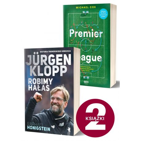Okładki książek sportowych Jurgen Klopp. Robimy hałas i Premier League w księgarni sportowej LaBotiga.pl