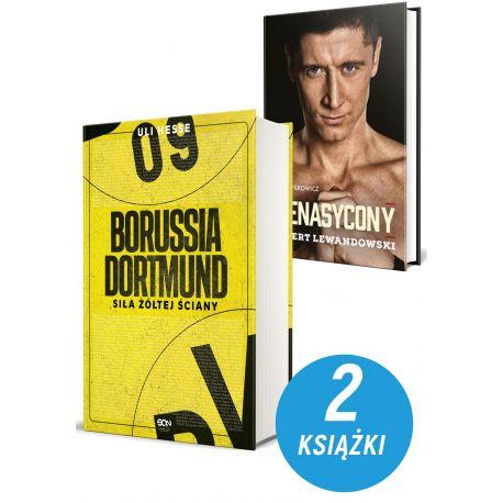 Zdjęcie pakietu książek sportowych Borussia Dortmund i Nienasycony. Robert Lewandowski