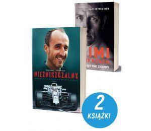 Okładka zestawu książek sportowych o formule 1 Robert Kubica Nizniszczalny i Kimi Raikkonen