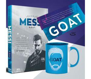 Zdjęcie pakietu Messi. G.O.A.T. + zakładka GOAT + kubek GOAT w księgarni sportowej Labotiga