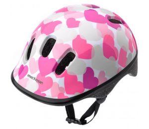 Kask rowerowy Meteor KS06 Hearts pink roz XS 44-48cm Jr 24818