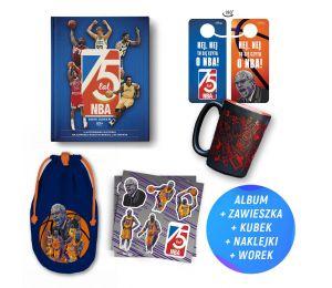 Pakiet: 75 lat NBA. Ilustrowana historia najlepszej koszykarskiej ligi świata + Kubek koszykarski duży (400 ml) + gadżety w księ