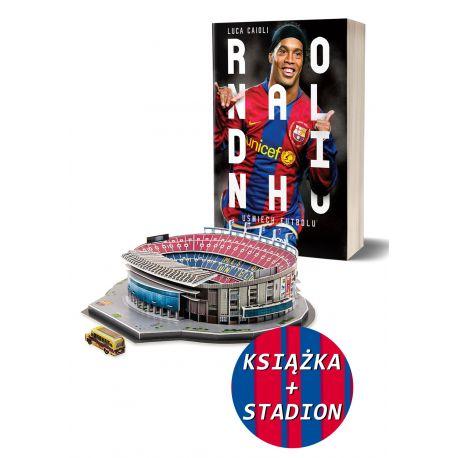 Pakiet: Ronaldinho. Uśmiech futbolu + Model stadionu Camp Nou (Trefl)