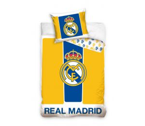 Pościel żółte pasy, logo Real Madryt (160x200 + 70x80)