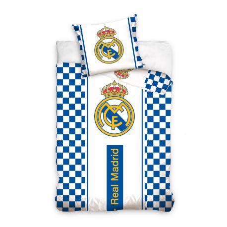 Pościel krata i logo Real Madryt (160x200 + 70x80)