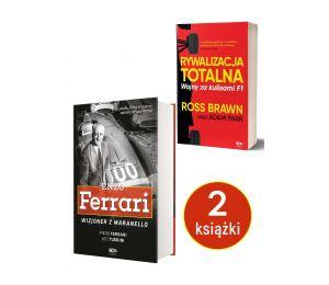 Okładki książek Enzo Ferrari. Wizjoner z Maranello i Rywalizacja totalna dostępnych w księgarni sportowej Labotiga.pl i