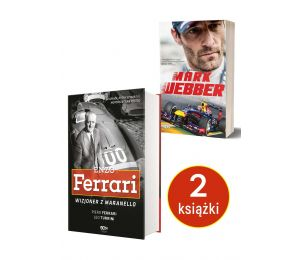 Okładki książek Enzo Ferrari. Wizjoner z Maranello i Mark Webber dostępnych w księgarni sportowej Labotiga.pl i