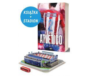 Okładka książki sportowej Atletico Madryt oraz model stadionu piłkarskiego